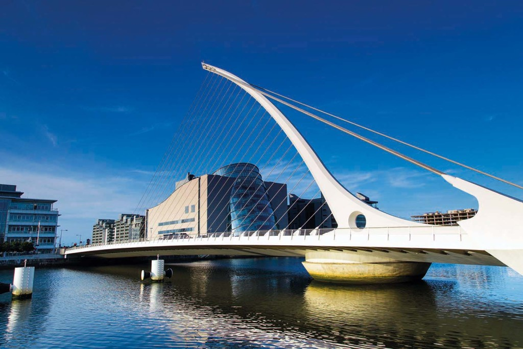 The Samuel Beckett Bridge links the northside and southside of the city over the River Liffey in the Dublin Docklands
